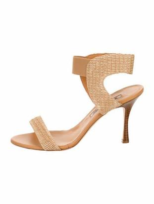 Manolo Blahnik Woven Leather Sandals Tan