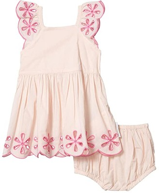 Stella Mccartney Kids Broderie Anglaise Ruffle Short Sleeve Dress (Infant) (Pink) Girl's Clothing