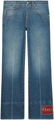 Gucci Marble washed denim flare pant