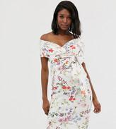 Asos DESIGN Maternity fallen shoulder midi pencil dress with tie detail in Botanical floral