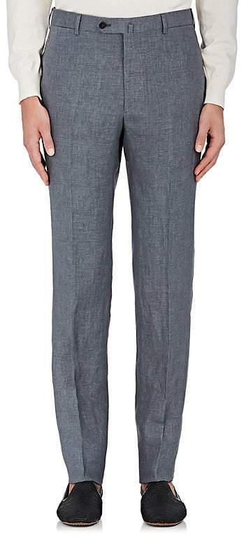 Isaia Men's Linen Flat-Front Trousers