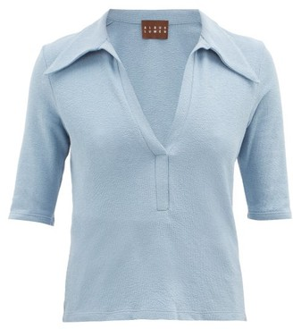 ALBUS LUMEN Point-collar Terry Cotton-blend Polo Shirt - Blue