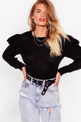 Nasty Gal Womens Knit's jumper Weather Puff Sleeve jumper - Black - S
