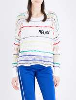 Wildfox Couture Relax striped open-knit jumper