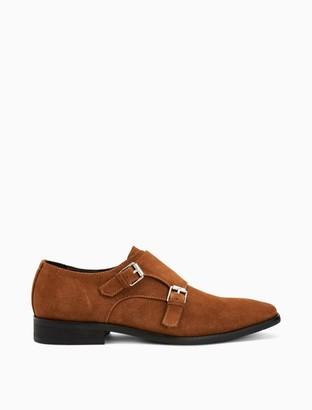 Calvin Klein Robbie Suede Double Monk Strap Dress Shoe