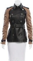 Burberry Double-Breasted Leather-Paneled Jacket
