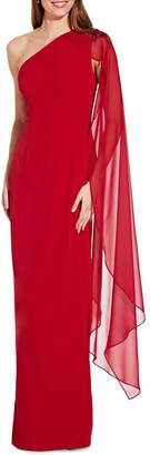 Adrianna Papell One Shoulder Cape Column Gown
