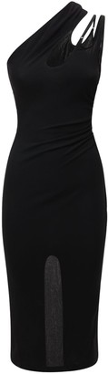 Thierry Mugler Crepe Jersey Midi Dress W/ Back Slit