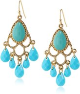 "1928 Jewelry ""Domenica"" Gold-Tone Turquoise Chandelier Drop Earrings"