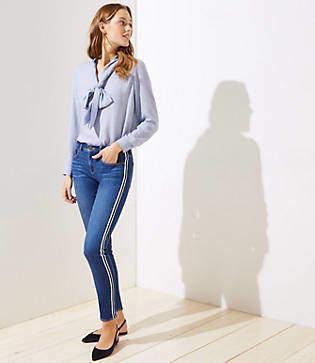 LOFT Petite Modern Side Stripe Slim Pocket Skinny Jeans in Vintage Mid Indigo Wash