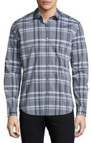 Theory Zack Plaid Long-Sleeve Sport Shirt, Black Multi