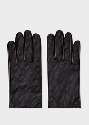 Paul Smith Men's Black Leather Gloves With 'House' Jacquard Panel