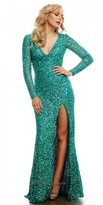 Mac Duggal Sequined Long Sleeve Prom Dress