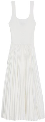 Theory Pleated Contrast Midi Dress