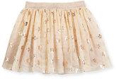 Stella McCartney Honey Tulle Metallic Daisy Skirt, Beige, Size 4-10