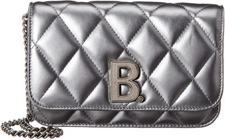 Balenciaga B Quilted Metallized Leather Wallet On Chain