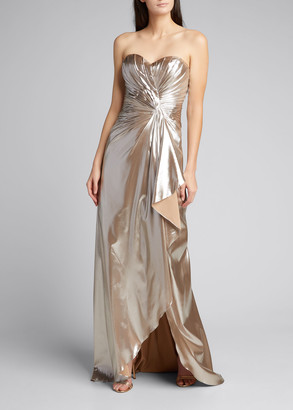 Rene Ruiz Collection Strapless Metallic Draped Gown