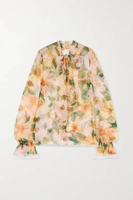 Dolce & Gabbana Pussy-bow Lace-trimmed Floral-print Silk-blend Chiffon Blouse - Yellow