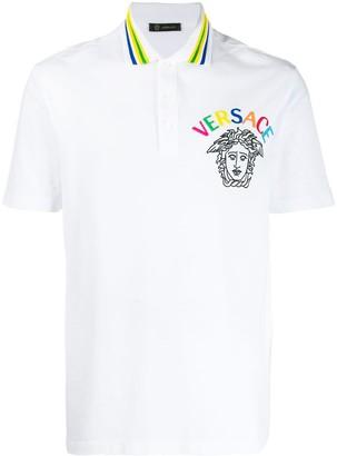 Versace embroidered Medusa polo shirt