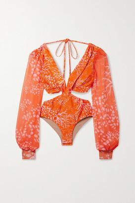 PatBO Cutout Printed Chiffon-paneled Swimsuit - Orange