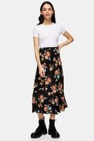 Topshop TALL Multi Floral Flounce Midi Skirt
