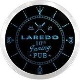AdvPro Clock ncpo2131-b LAREDO Baseball 10th Inning Pub Beer Bar LED Neon Sign Wall Clock