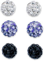 Unwritten Sterling Silver Earrings Set, Purple, Clear and Black Crystal Stud Set