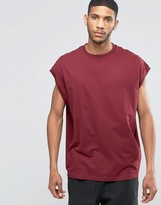 Asos Super Oversized T-Shirt In Textured Fabric In Burgundy