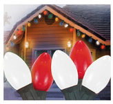 Asstd National Brand Set Of 25 Opaque Red And White Candy Cane C7 Christmas Lights with Green Wire