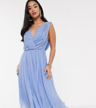 Asos DESIGN Petite drape bodice midaxi dress embellished