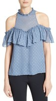 Rebecca Taylor Open Shoulder Metallic Clipped Jacquard Top