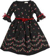 MonnaLisa Roses Printed Crepe Cady Dress