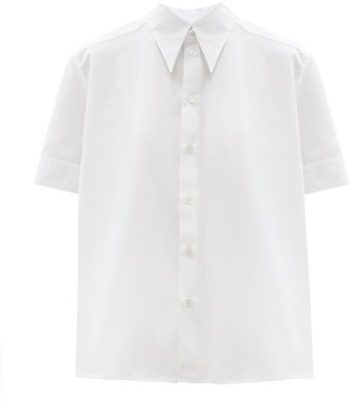 Zanini Point-collar Cotton-poplin Shirt - White