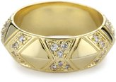House Of Harlow 14k Yellow Gold-Plated Pave Thick Stack Ring, Size 7