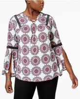 NY Collection Plus Size Printed Split-Sleeve Top
