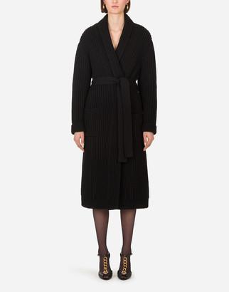 Dolce & Gabbana Belted Cashmere Fishermans Rib Coat