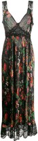 Paco Rabanne lace-insert floral maxi dress