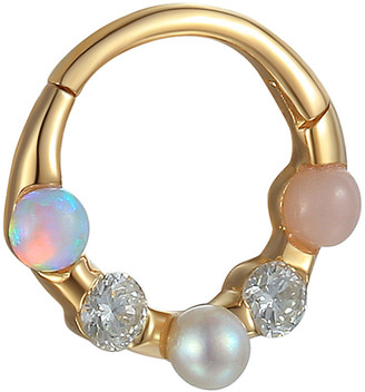 Pamela Love Australian Opal, Diamond, Freshwater Pearl and Pink Opal Single Hoop Earring - Yellow Gold