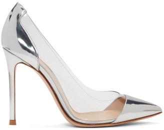 Gianvito Rossi Silver Metallic Patent Plexi Heels