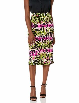 Kasper Women's Plus Size Tropical Leaves Printed Knit Skirt