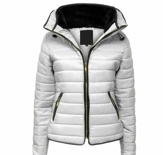 Parsa Fashions Malaika Ladies Quilted Padded Puffer Bubble Fur Collar Warm Thick Womens Jacket Coat