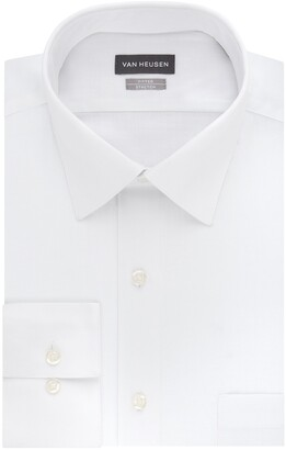 Van Heusen Men's Dress Shirts Fitted Lux Sateen Stretch Solid Spread Collar
