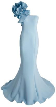 Jovani One-Shoulder Scuba Fishtail Gown