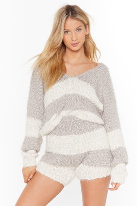 Nasty Gal Womens Everything'S All Stripe Jumper And Shorts Lounge Set - Grey - S