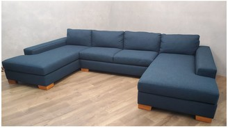 Apt2B Custom Melrose 3pc Sectional with RAF Chaise/Armless Sofa/LAF Chaise in SAPPHIRE
