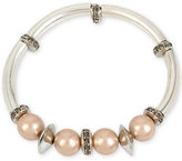 Kenneth Cole New York Silver-Tone Imitation Pearl and Crystal Stretch Bracelet