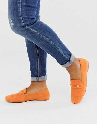ASOS DESIGN Mocha square toe suede loafers in orange