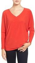 Chaus Embellished V-Neck Dolman Sleeve Top