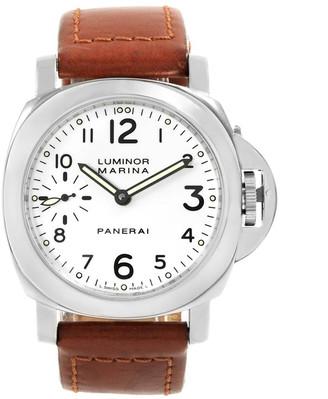 Panerai White Stainless Steel Luminor Marina PAM00003 Men's Wristwatch 44 MM