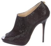 Jimmy Choo Glitter Peep-Toe Booties